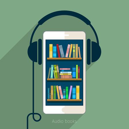 Concept of audio book. Book with headphones, vector illustration, flat design