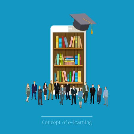 e book device: Online mobile library in smartphone. Concept of education. Books in smart phone tablet, micro people standing around. Vector illustration Illustration