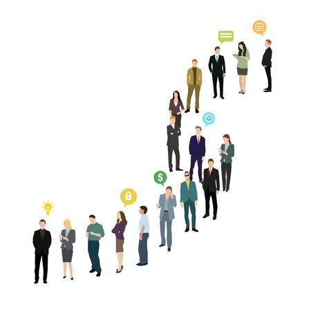 Groep bedrijfs en bureaumensen die zich in lijn bevinden. Platte ontwerp, vectorillustratie Stock Illustratie
