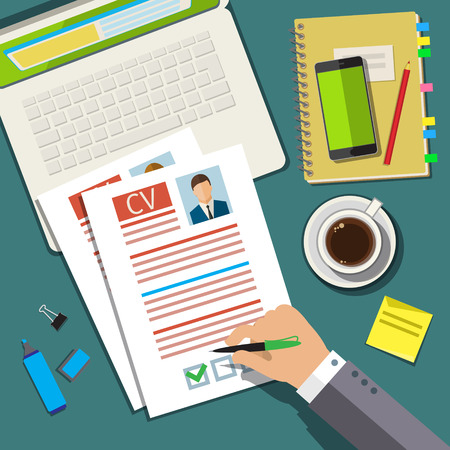 job interview concept with business cv resume flat design vector