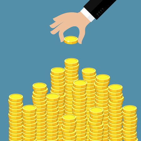 Concept of wealth. Hand put coin to money staircase. Flat design, vector illustration. Illustration