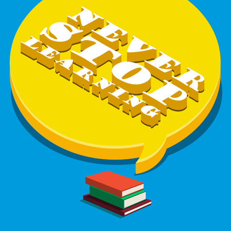 magazine stack: Concept of learning. Books with speech bubble. Flat design, vector illustration
