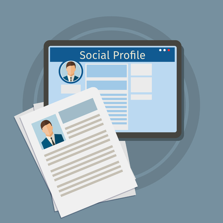 hr: Search Social Profile. Tablet with social network. Flat design, vector illustration.