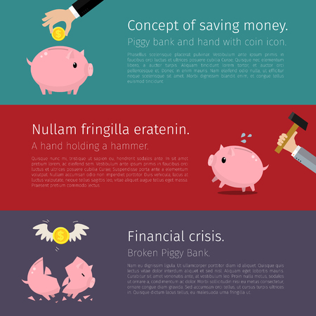 economic depression: Set of Piggy bank. Flat design. Vector illustration
