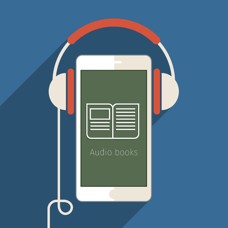 audio book: Concept of audio book. Book with headphones, vector illustration, flat design