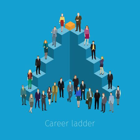 career up: Career ladder with people. Conceptual vector illustration. Flat design.