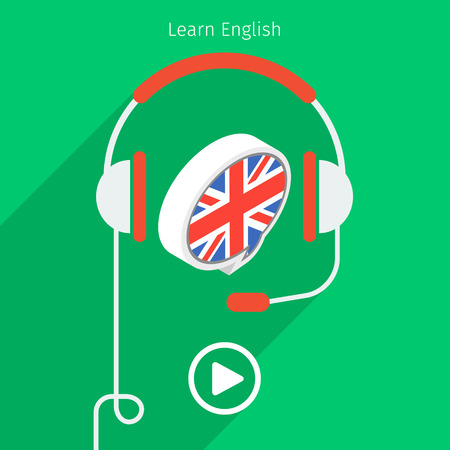 english book: Concept of audio english book or studying English. Headphones with speech bubble, vector illustration, flat design.