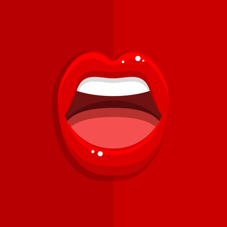 Womans mouth with open red lips on red background. Vector Illustration. Иллюстрация