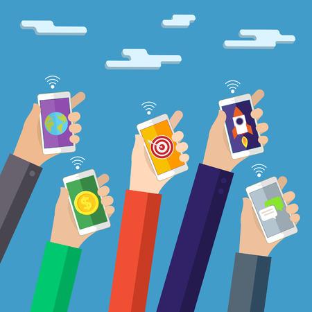 mobile apps: Concept for mobile apps. Flat design vector illustration.