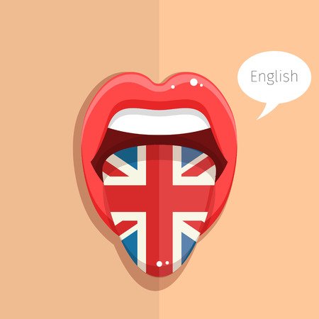 woman mouth open: English language concept. English language tongue open mouth with flag of Britain, woman face. Flat design, vector illustration.