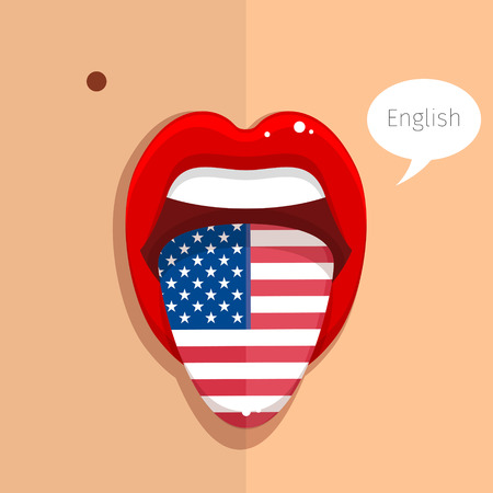 English language concept. English language tongue open mouth with flag of USA, woman face. Flat design, vector illustration. Vettoriali