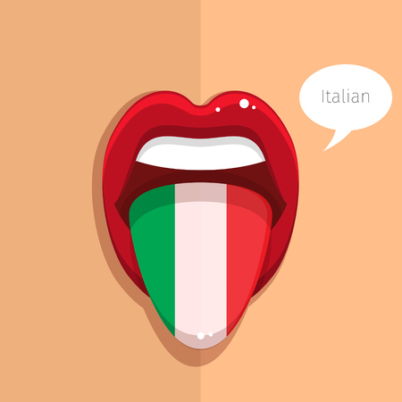 tongue: Italian language concept. Italian language tongue open mouth with Italian flag,woman face. Flat design, vector illustration.