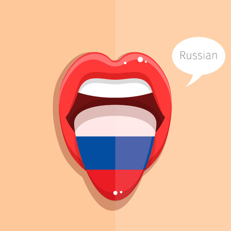 tongue woman: Russian language concept. Russian language tongue open mouth with Russian flag, woman face. Flat design, vector illustration.