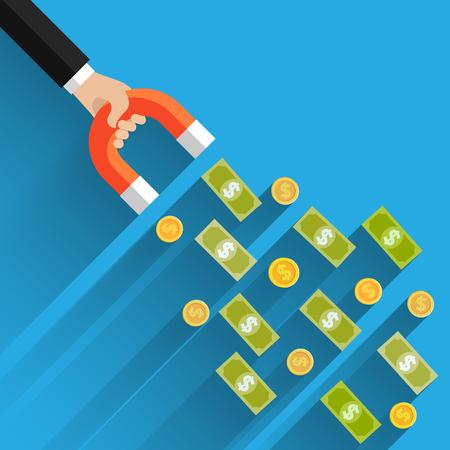 Concetto di attrarre investimenti. affari soldi successo dollaro magnete. Design piatto, illustrazione vettoriale