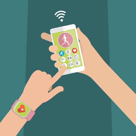 listening to heartbeat: Hands holding touch phone and smart watch with mobile app health sensor. Flat design vector illustration