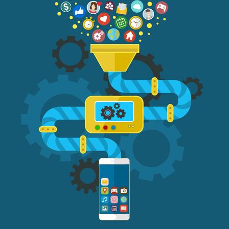 lo sviluppo di applicazioni per il telefono mobile. Programmazione e la creazione di applicazioni. infografica vettoriale in stile piatto. Vettoriali