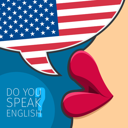 woman mouth open: Concept of studying English or American. Female lips speak. Flat design, vector illustration.
