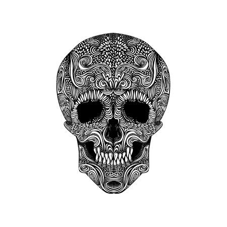 dead body: Vector Black and White Tattoo Skull Illustration