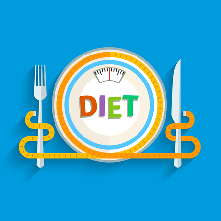 dieting: Concept for dieting, planned way of eating, nutrition regime. Colored flat design vector illustration