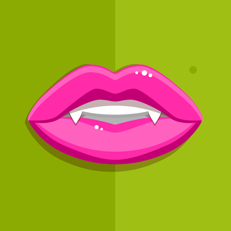 Vampire mouth with open red lips and long teeth on green background. Halloween Background. Vector Illustration. Illustration