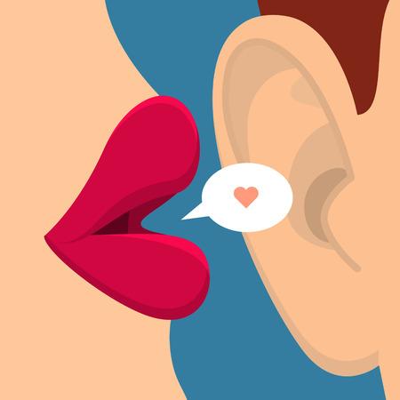 Concept van roddel of liefde. Vector Illustratie
