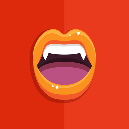 long mouth: Vampire mouth with open red lips and long teeth on red background. Halloween Background. Vector Illustration.