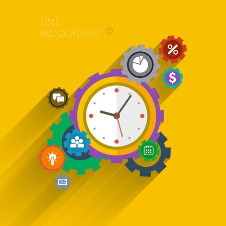 time management: Flat design vector business illustration. Concept of effective time management. Illustration