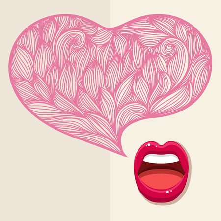 rumor: Concept of gossip or love. Female lips speak. Flat design, vector illustration.