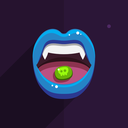 immortal: Vampire mouth with open red lips and long teeth on black background. Halloween Background. Vector Illustration.