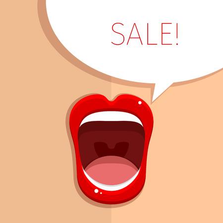 boca abierta: Boca de Womans con los labios rojos abiertos. Vectores
