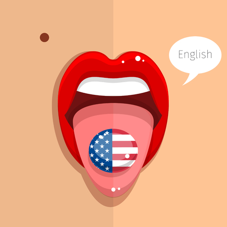 tongue woman: English language concept. English language tongue open mouth with flag of USA, woman face. Flat design, vector illustration. Illustration