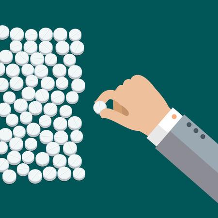 pills hand: Concept of taking pills. Hand with white medical pills. Flat design, vector illustration. Illustration