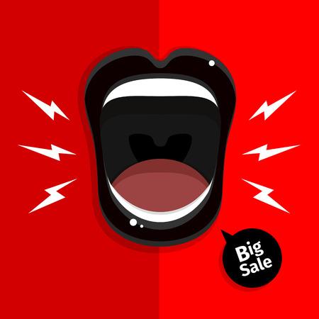 boca abierta: Concepto de venta. Boca de Womans con los labios negros abiertos en el fondo rojo. Ilustración del vector.