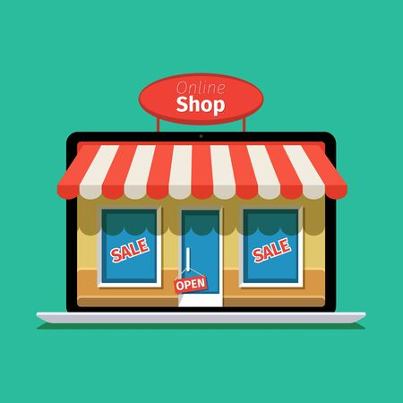 e pay: Internet shopping concept. E-commerce. Online store. Web money and payments. Pay per click. Illustration