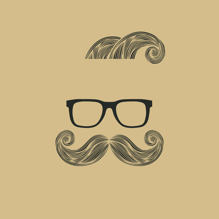 sideburns: Hand Drawn Mustache Beard and Hair Style.