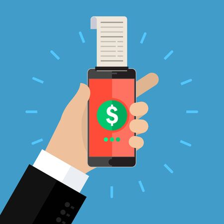 paycheck: Concept of shopping or mobile banking. Mobile banking with smart phone and paycheck. Flat design, vector illustration.