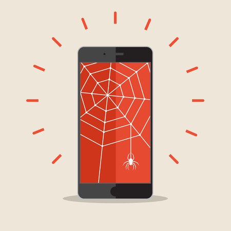 spyware: Smart phone with cobweb and spider. Concept of criminal hacker. Flat style modern design vector illustration
