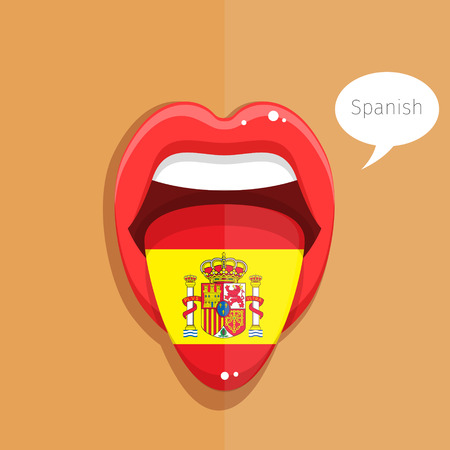 spanish flag: Spanish language concept. Spanish language tongue open mouth with flag of Spain, woman face. Flat design, vector illustration. Illustration
