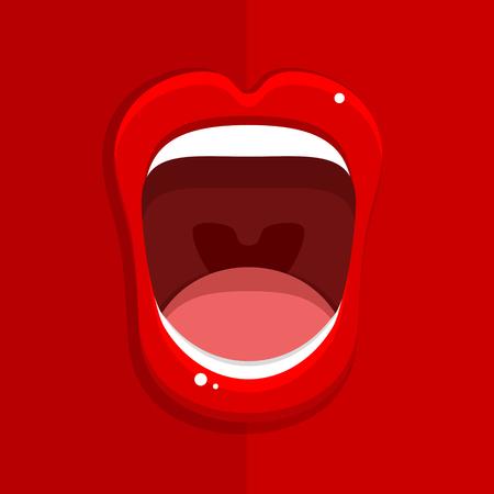 De mond van de vrouw met open rode lippen op rode achtergrond. Vector illustratie.