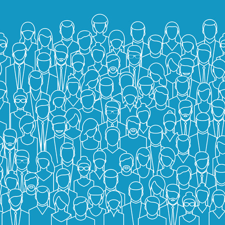 user icon: The crowd of abstract people, line style. Flat design, vector illustration.