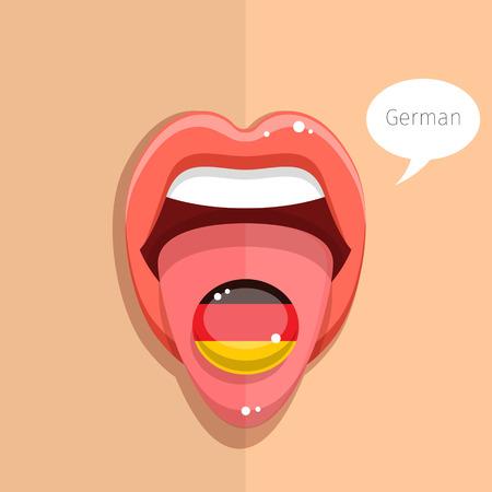 german flag: German language concept. German language tongue open mouth with German flag, woman face. Flat design, vector illustration.