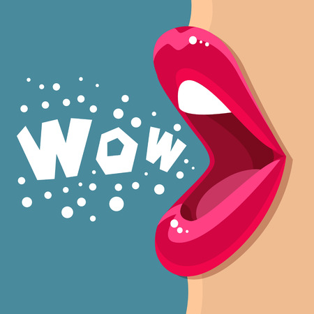 girl open mouth: Open mouth and WOW Message, promotional background, presentation poster. Flat design, vector illustration.