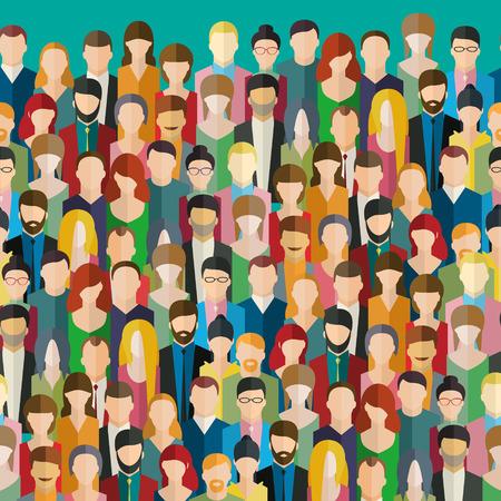 multitud de gente: La multitud de personas abstractas. Diseño plano, ilustración vectorial. Vectores