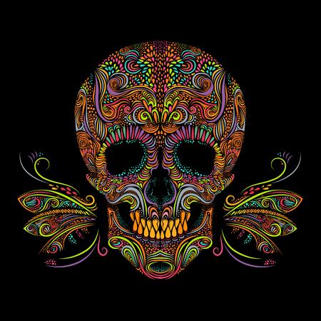 Print design: Decorative color skull on black background. Illustration