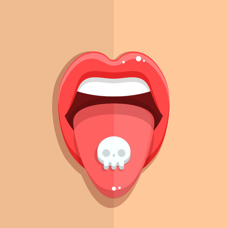 ecstasy pill: Taking pills. Woman taking pill. Pill on her tongue, close-up of young woman holding pill on her tongue. Flat design, vector illustration.