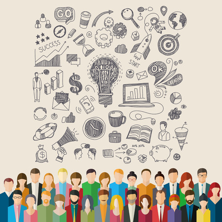 overcrowded: Concept of team work. The crowd of abstract people and hand drawn symbols. Flat design, vector illustration.