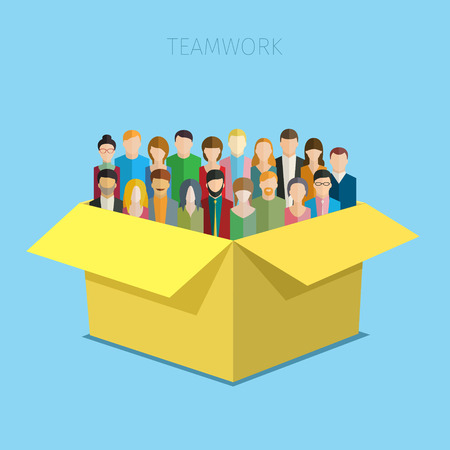 unrecognizable person: Concept of teamwork. Big group of men and women in the open yellow box. Flat design vector illustration.