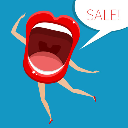 Concept of sale. Open mouth with legs and hands. Vector Illustration.