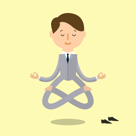 yoga meditation: Business yoga. Cartoon business man is doing yoga and meditation. Concept of peace in mind. Flat design Illustration