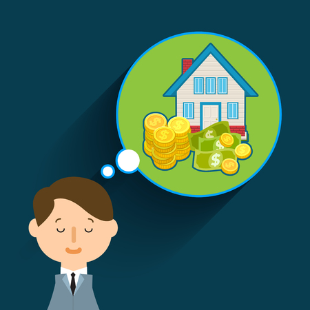 residual income: Concept of big dreams. Business man dreaming. Flat design, vector illustration